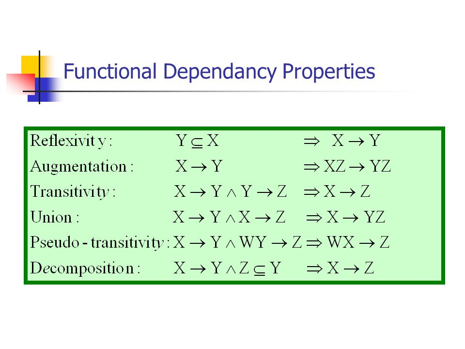 Functional Dependancy Properties