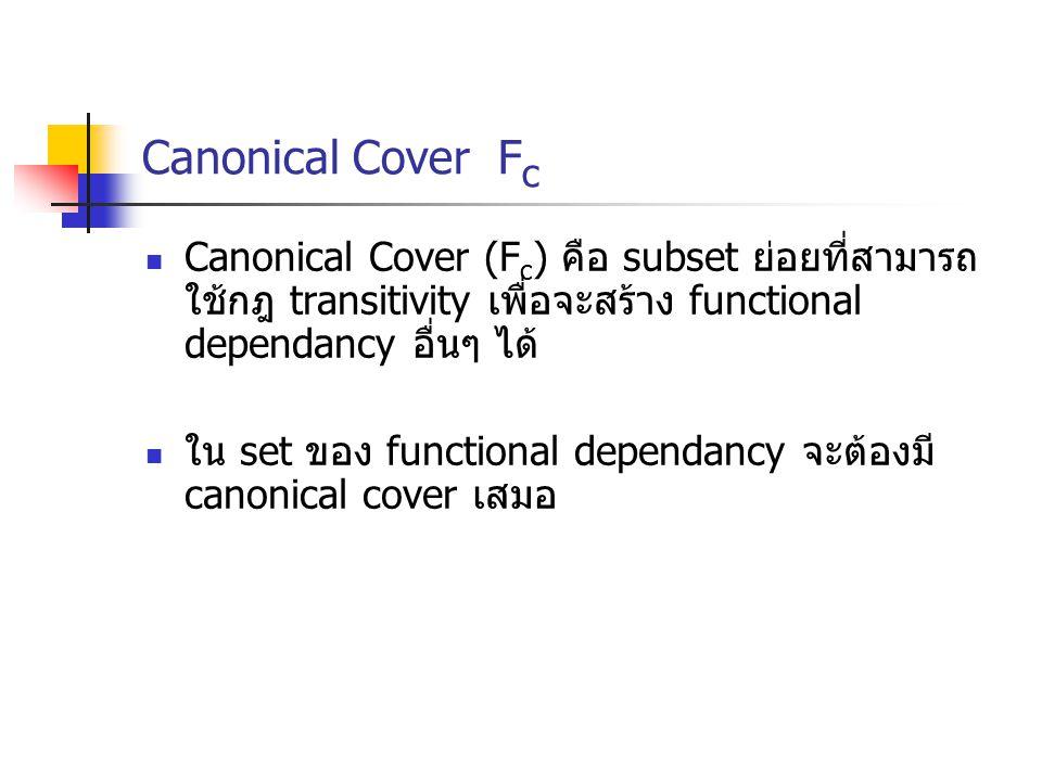 Canonical Cover Fc Canonical Cover (Fc) คือ subset ย่อยที่สามารถใช้กฎ transitivity เพื่อจะสร้าง functional dependancy อื่นๆ ได้
