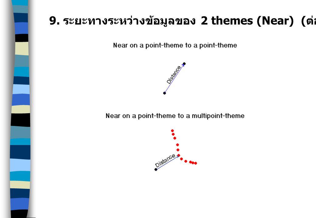 9. ระยะทางระหว่างข้อมูลของ 2 themes (Near) (ต่อ)