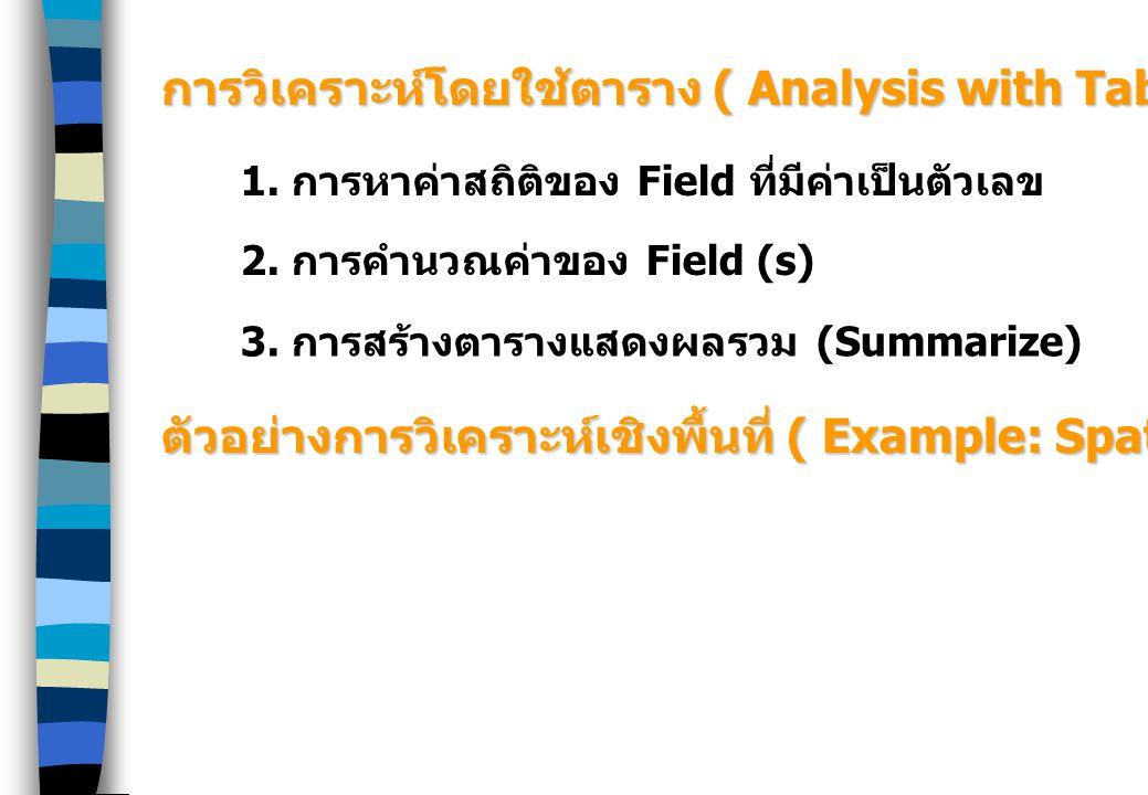 การวิเคราะห์โดยใช้ตาราง ( Analysis with Table)