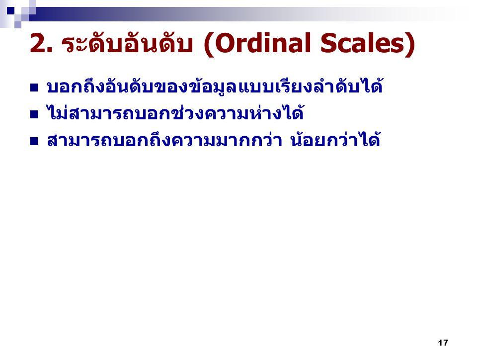 2. ระดับอันดับ (Ordinal Scales)