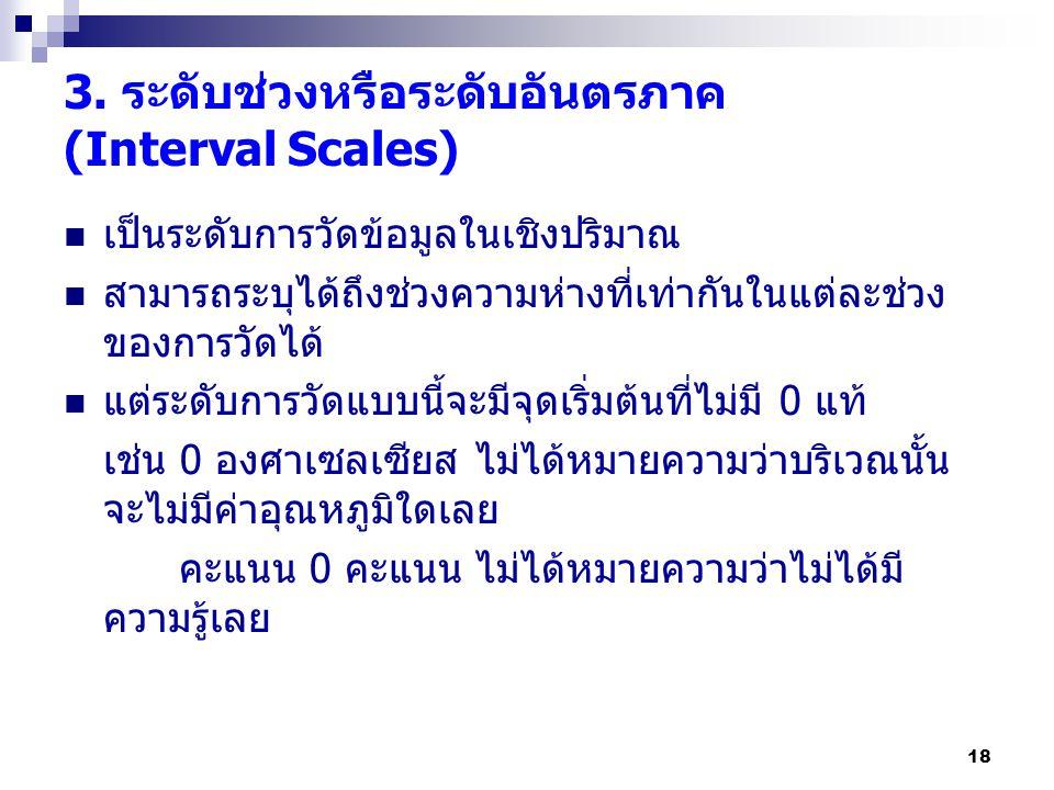 3. ระดับช่วงหรือระดับอันตรภาค (Interval Scales)