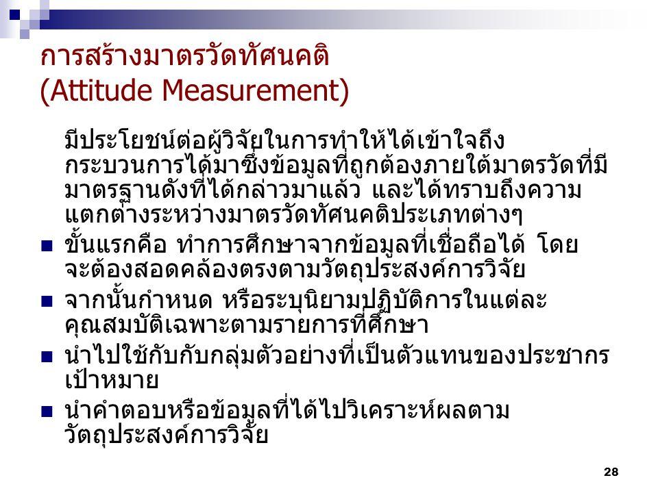 การสร้างมาตรวัดทัศนคติ (Attitude Measurement)
