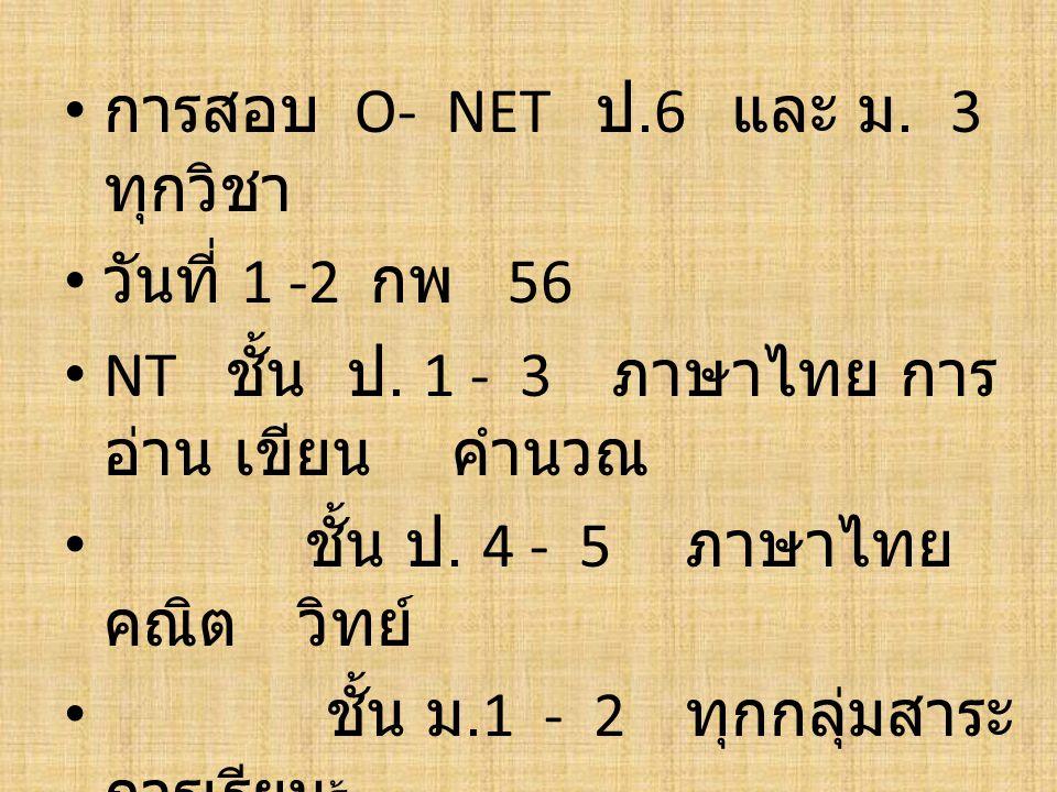 การสอบ O- NET ป.6 และ ม. 3 ทุกวิชา