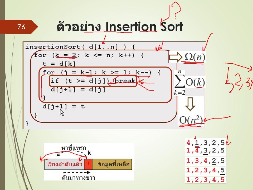 ตัวอย่าง Insertion Sort