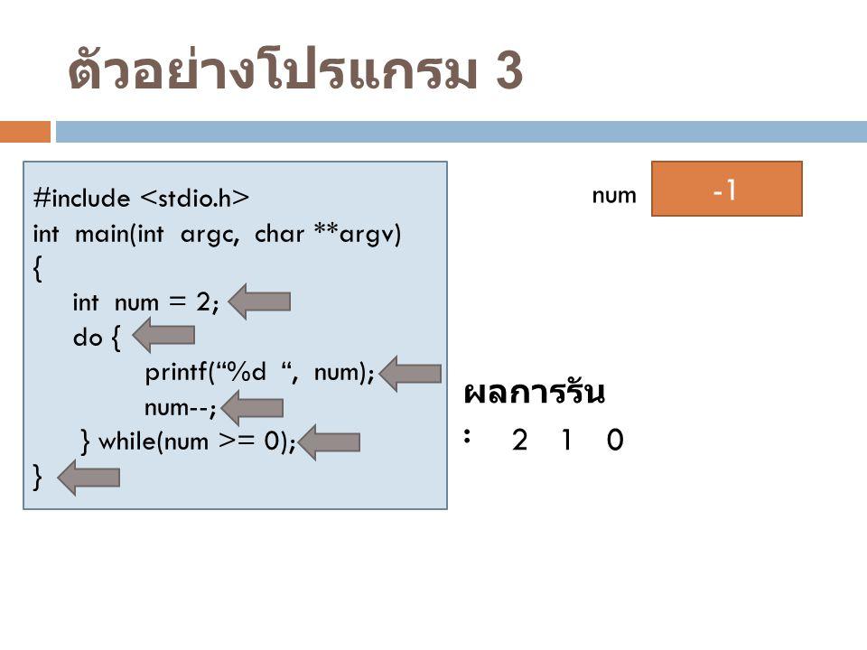 ตัวอย่างโปรแกรม 3 2 -1 1 ผลการรัน : 2 1 #include <stdio.h> num