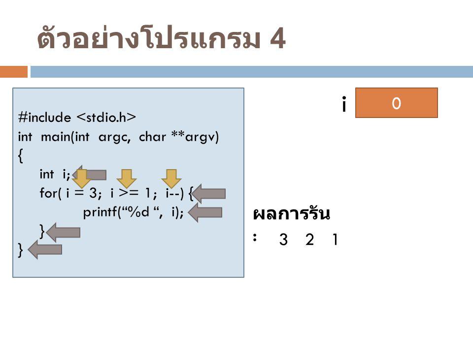 ตัวอย่างโปรแกรม 4 i 1 2 3 ผลการรัน : 3 2 1 #include <stdio.h>