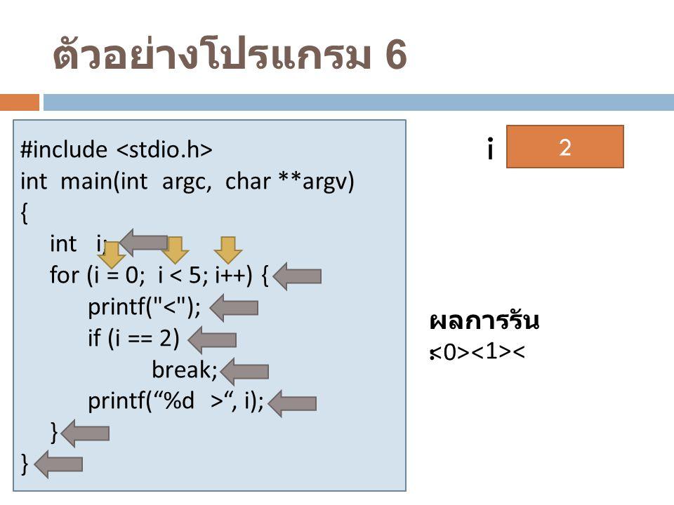 ตัวอย่างโปรแกรม 6 i #include <stdio.h>