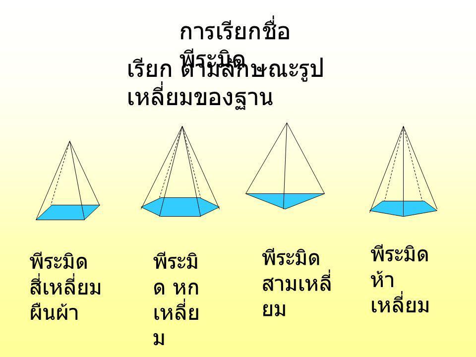 เรียก ตามลักษณะรูปเหลี่ยมของฐาน