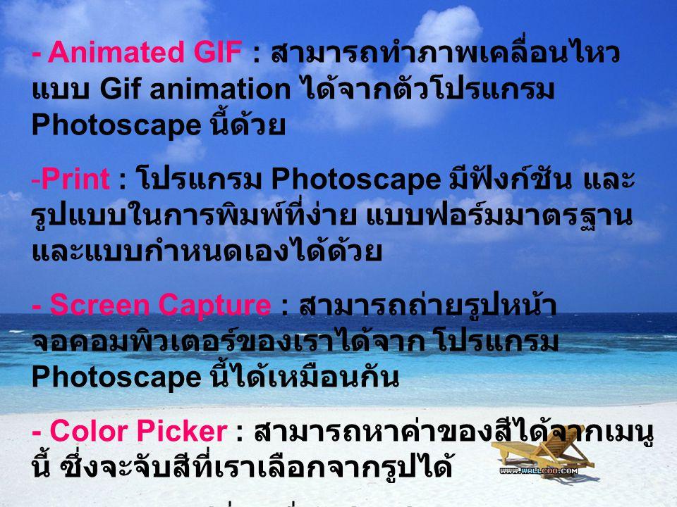 - Animated GIF : สามารถทำภาพเคลื่อนไหวแบบ Gif animation ได้จากตัวโปรแกรม Photoscape นี้ด้วย