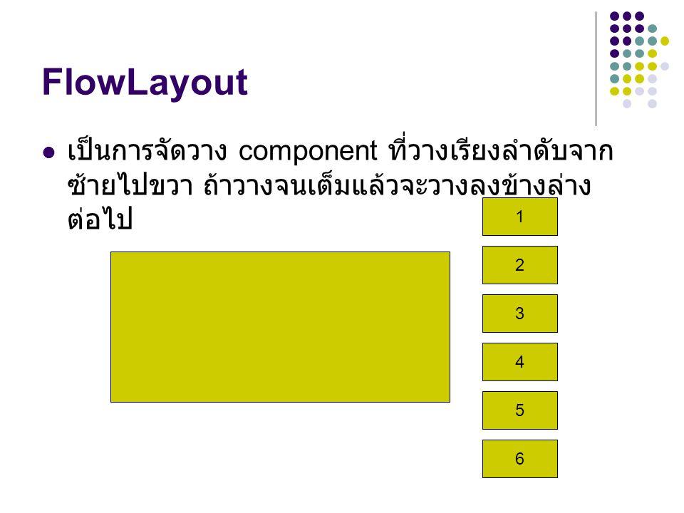 FlowLayout เป็นการจัดวาง component ที่วางเรียงลำดับจากซ้ายไปขวา ถ้าวางจนเต็มแล้วจะวางลงข้างล่างต่อไป.