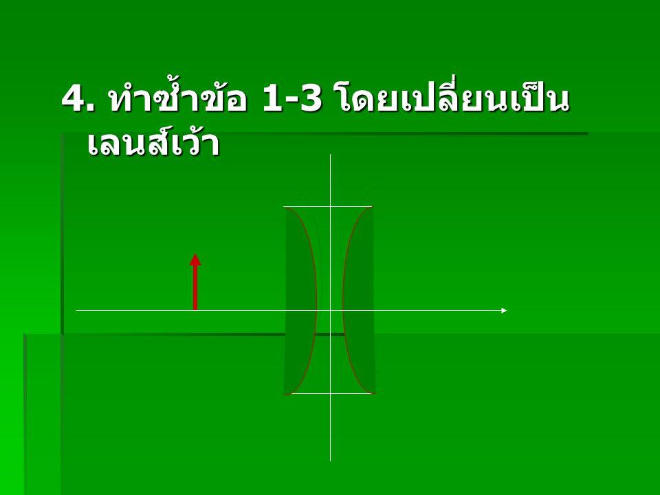 4. ทำซ้ำข้อ 1-3 โดยเปลี่ยนเป็นเลนส์เว้า