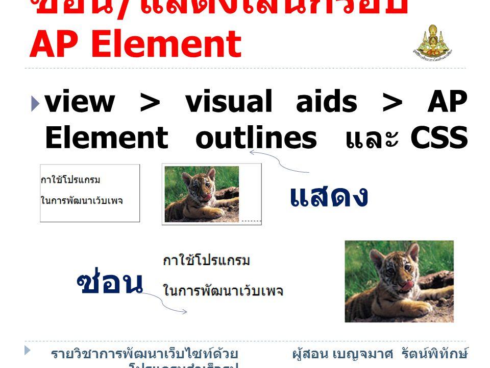 ซ่อน/แสดงเส้นกรอบAP Element
