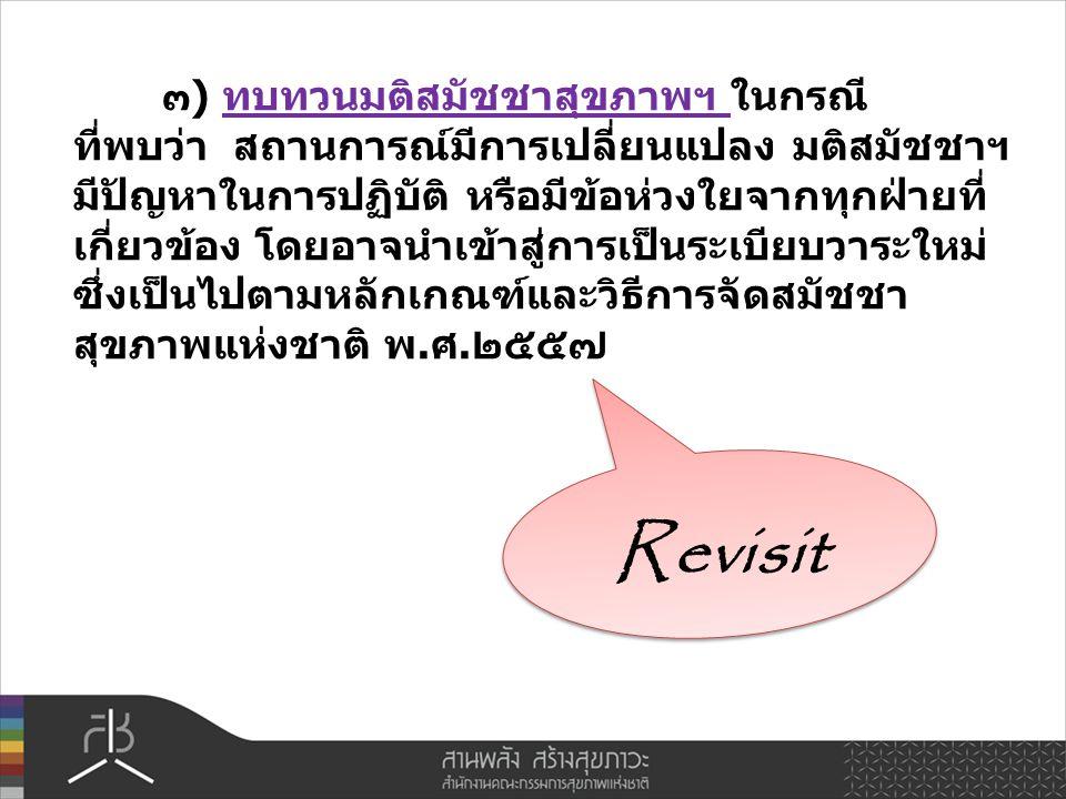 Revisit ๓) ทบทวนมติสมัชชาสุขภาพฯ ในกรณี