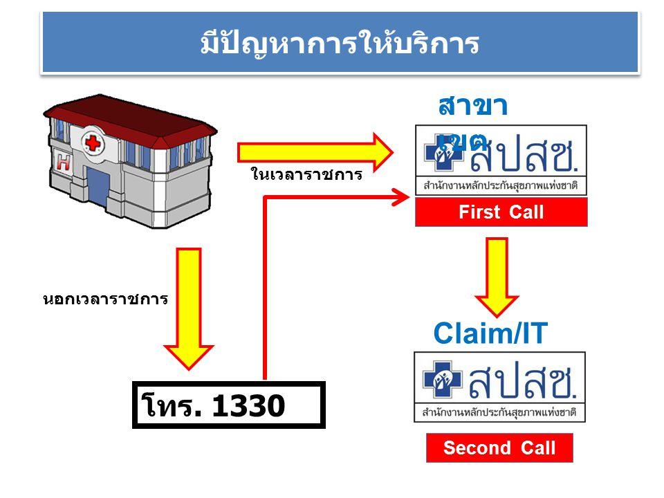 มีปัญหาการให้บริการ สาขาเขต Claim/IT โทร. 1330 First Call Second Call