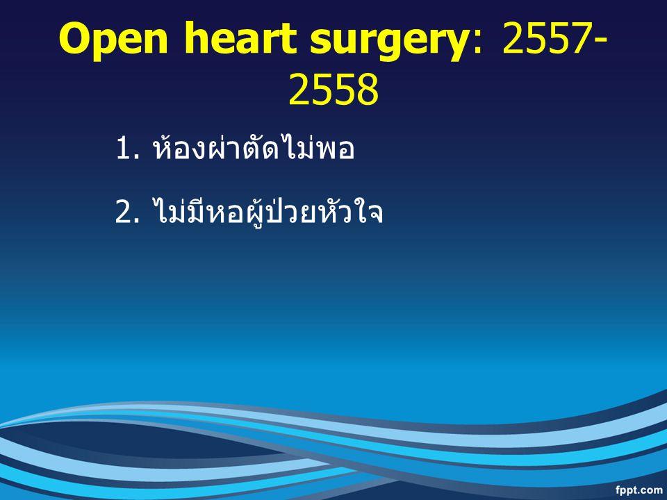 Open heart surgery: 2557-2558 ห้องผ่าตัดไม่พอ ไม่มีหอผู้ป่วยหัวใจ