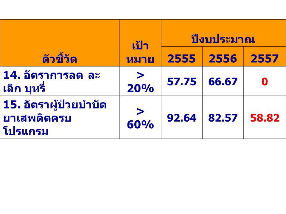 ตัวชี้วัด เป้า หมาย ปีงบประมาณ 2555 2556 2557 > 20% > 60%