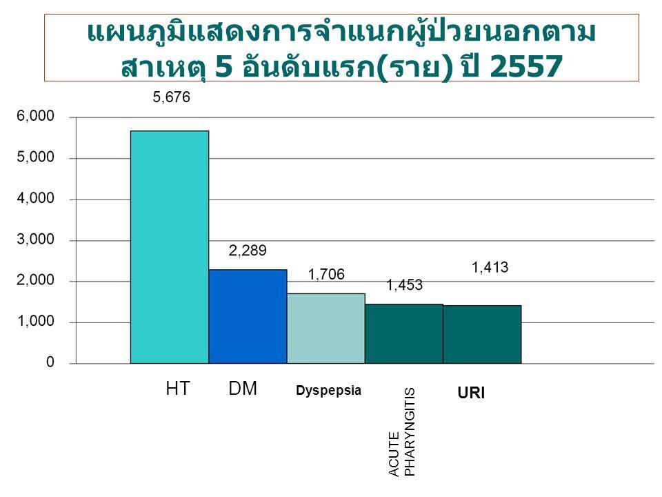 แผนภูมิแสดงการจำแนกผู้ป่วยนอกตามสาเหตุ 5 อันดับแรก(ราย) ปี 2557