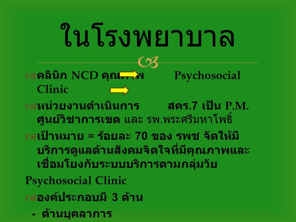 ในโรงพยาบาล คลินิก NCD คุณภาพ Psychosocial Clinic