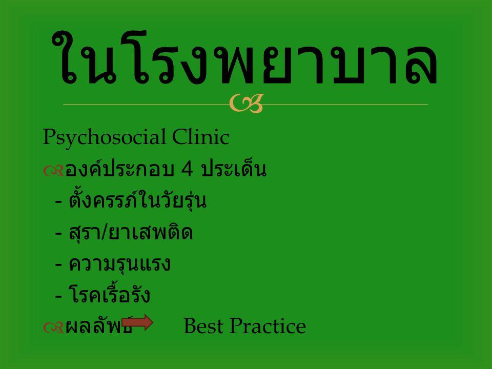 ในโรงพยาบาล Psychosocial Clinic องค์ประกอบ 4 ประเด็น