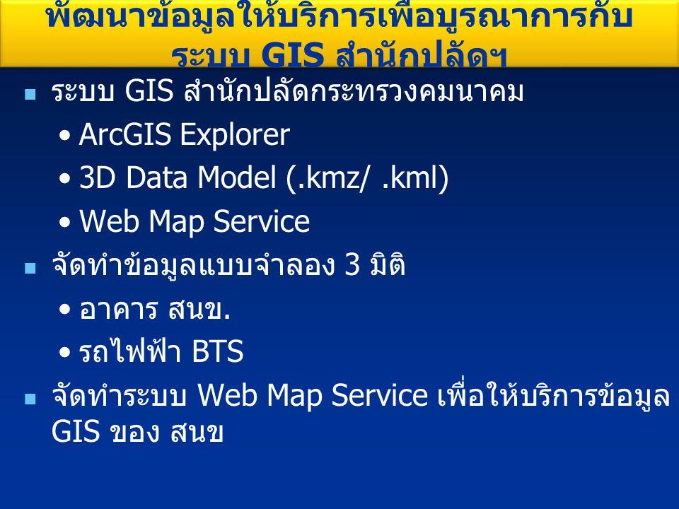 พัฒนาข้อมูลให้บริการเพื่อบูรณาการกับระบบ GIS สำนักปลัดฯ
