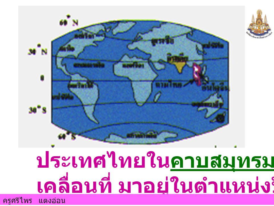 ประเทศไทยในคาบสมุทรมลายูได้ เคลื่อนที่ มาอยู่ในตำแหน่งปัจจุบัน
