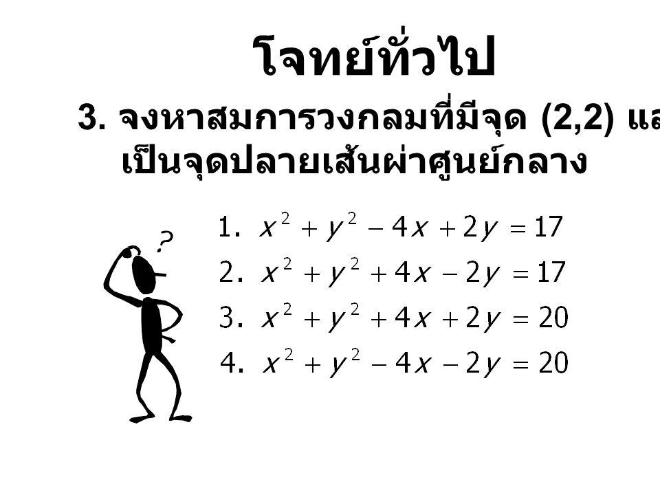 โจทย์ทั่วไป 3. จงหาสมการวงกลมที่มีจุด (2,2) และ (-6,-4)