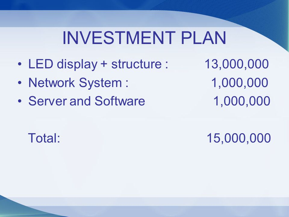 INVESTMENT PLAN LED display + structure : 13,000,000
