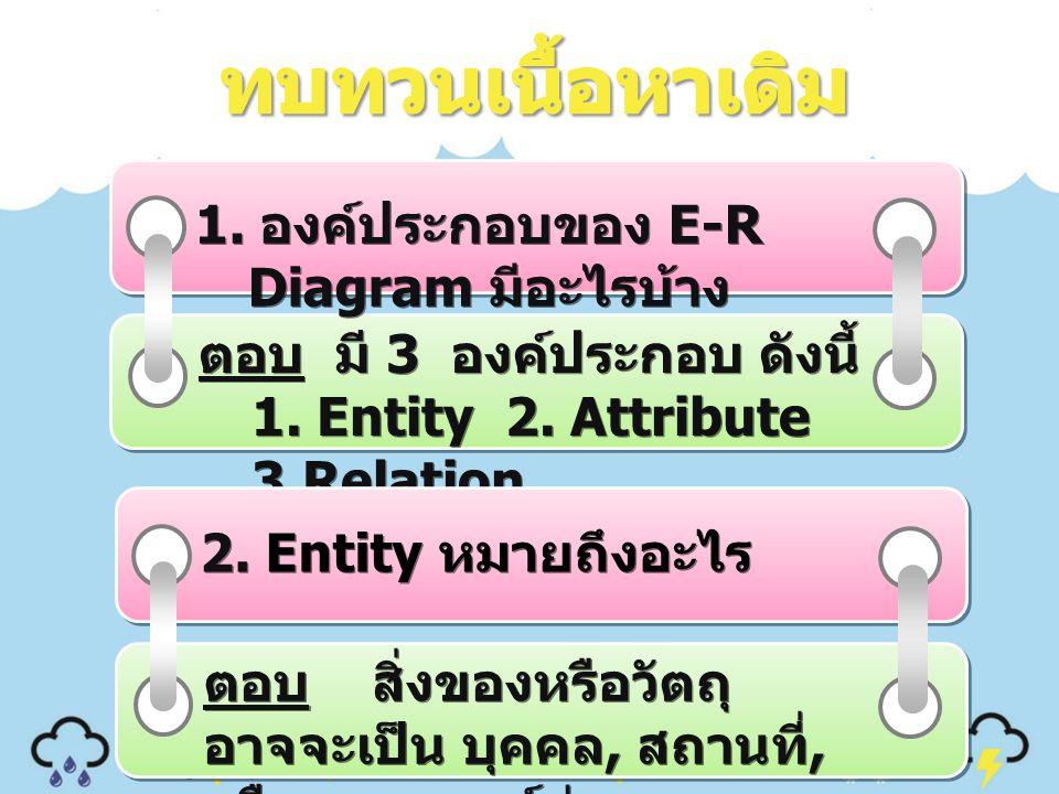 ทบทวนเนื้อหาเดิม 1. องค์ประกอบของ E-R Diagram มีอะไรบ้าง