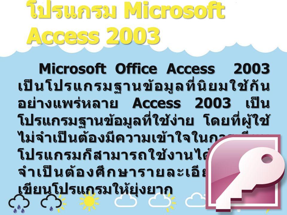 โปรแกรม Microsoft Access 2003
