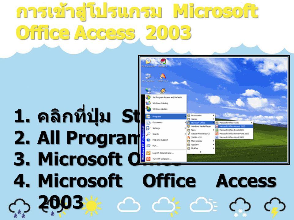 การเข้าสู่โปรแกรม Microsoft Office Access 2003
