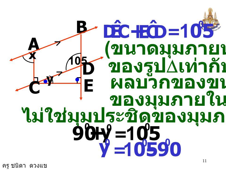 + + - 105 105 90 105 90 (ขนาดมุมภายนอก ของรูปDเท่ากับ ผลบวกของขนาด