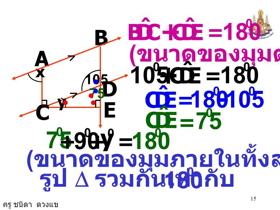 C D. B. ˆ. E. + = 180. B. (ขนาดของมุมตรง) A. E. D. C. ˆ. + = 180. 105. x. 105. D.