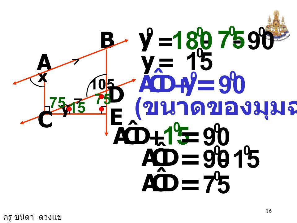 = = = = 90 75 180 15 y 90 15 90 90 15 75 y (ขนาดของมุมฉาก) y D C A ˆ D
