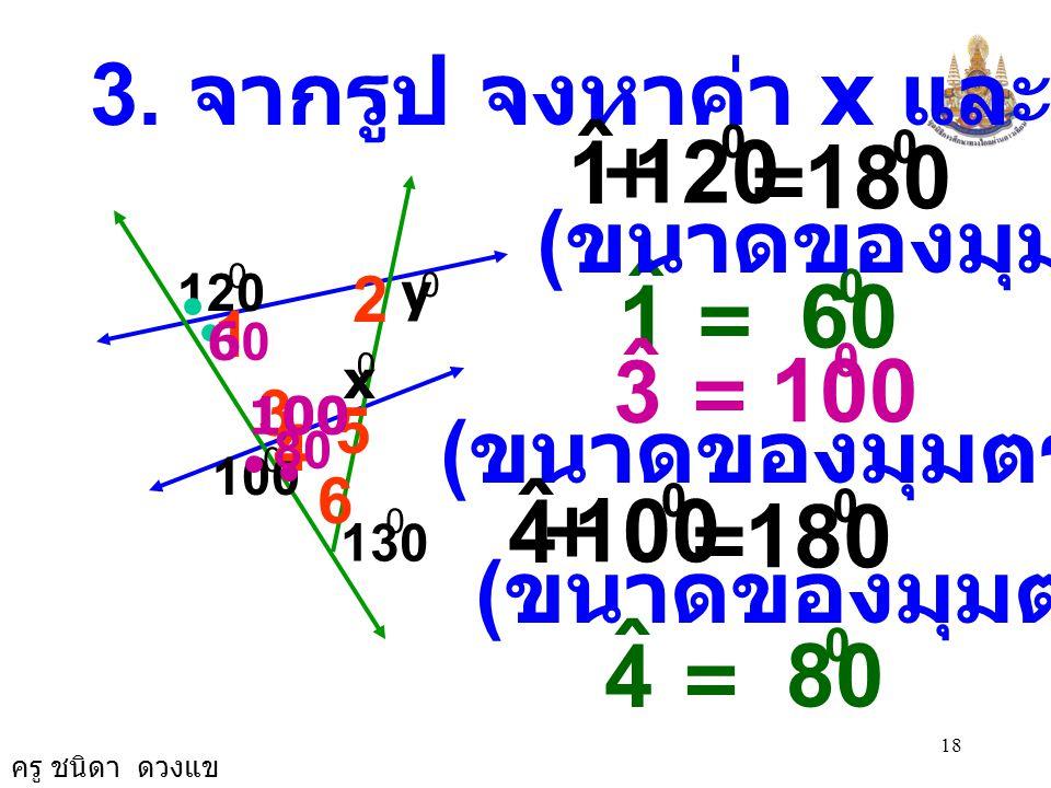 3. จากรูป จงหาค่า x และ y 1. ˆ. + 120. = 180. (ขนาดของมุมตรง) 1. ˆ. = 60. 120. 2. y. 1.