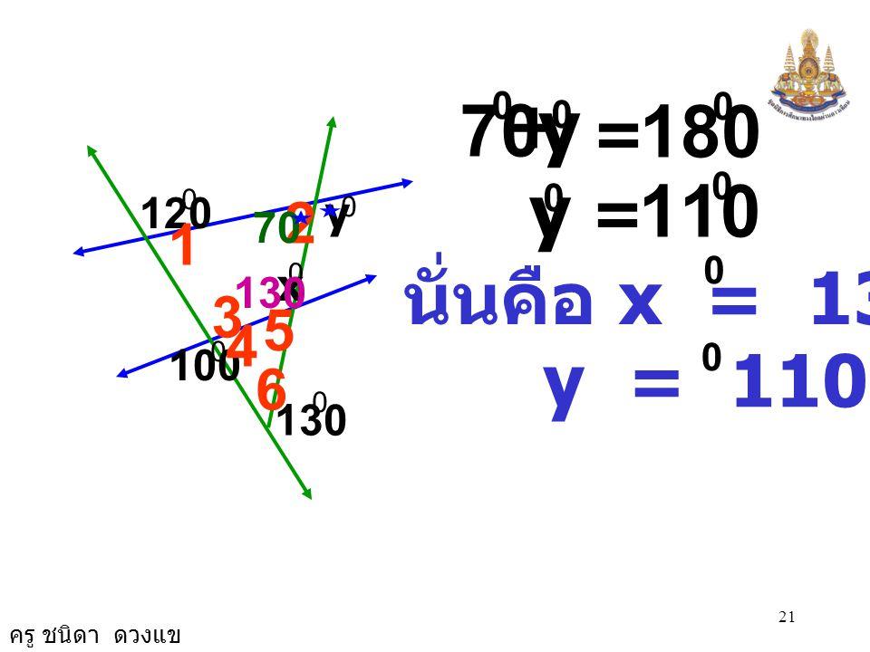 y + 70 = 180 y = 110 120 2 y 70 1 นั่นคือ x = 130 x 130 3 5 4 100 y = 110 6 130