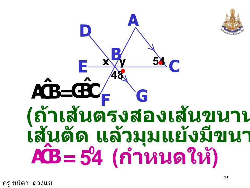 54 (ถ้าเส้นตรงสองเส้นขนานกันและมี เส้นตัด แล้วมุมแย้งมีขนาดเท่ากัน)