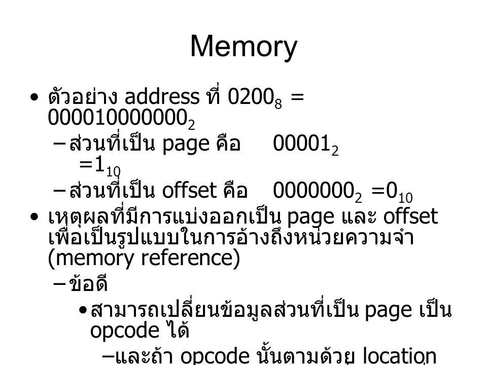 Memory ตัวอย่าง address ที่ 02008 = 0000100000002