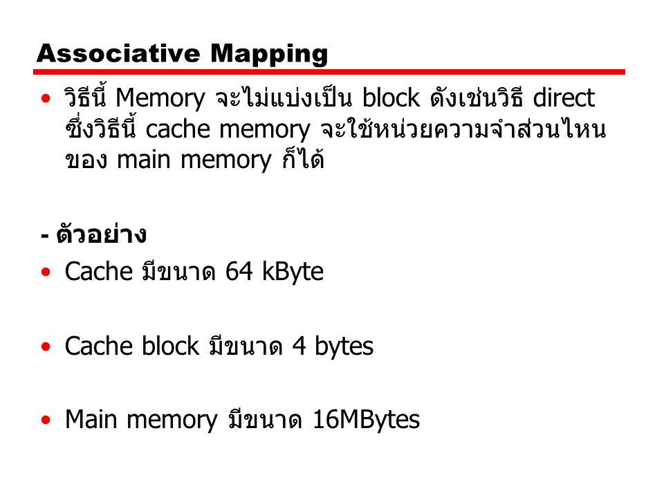 Associative Mapping วิธีนี้ Memory จะไม่แบ่งเป็น block ดังเช่นวิธี direct ซึ่งวิธีนี้ cache memory จะใช้หน่วยความจำส่วนไหนของ main memory ก็ได้