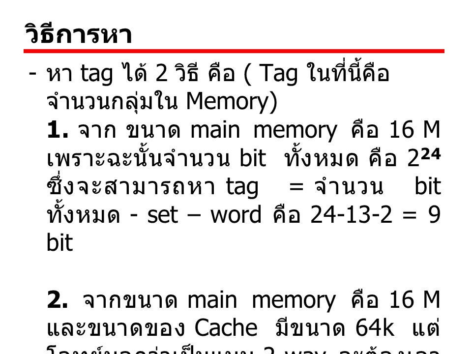 วิธีการหา หา tag ได้ 2 วิธี คือ ( Tag ในที่นี้คือ จำนวนกลุ่มใน Memory)