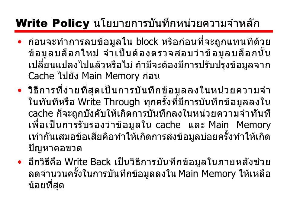 Write Policy นโยบายการบันทึกหน่วยความจำหลัก
