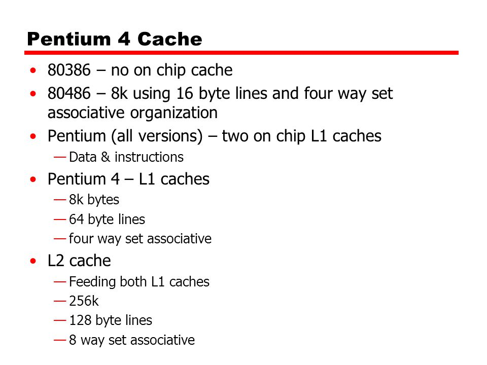 Pentium 4 Cache 80386 – no on chip cache