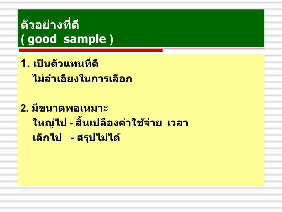 ตัวอย่างที่ดี ( good sample )