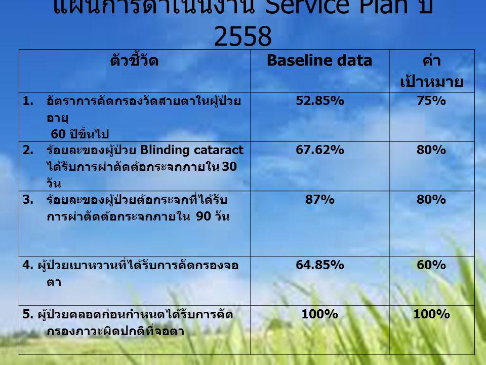 แผนการดำเนินงาน Service Plan ปี 2558