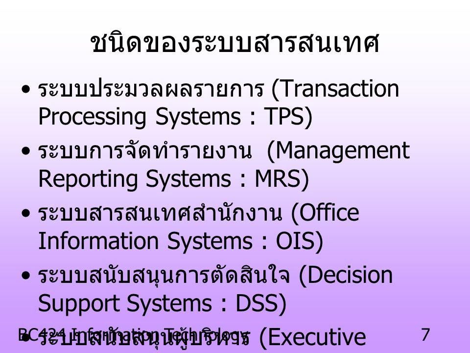 ชนิดของระบบสารสนเทศ ระบบประมวลผลรายการ (Transaction Processing Systems : TPS) ระบบการจัดทำรายงาน (Management Reporting Systems : MRS)