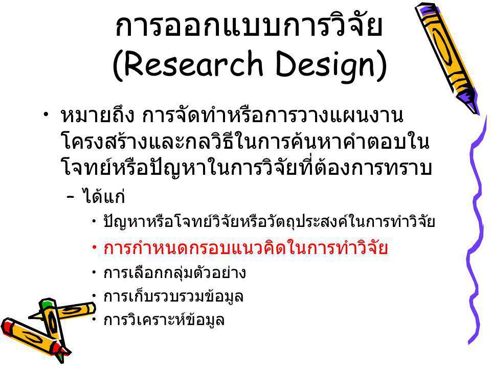 การออกแบบการวิจัย (Research Design)