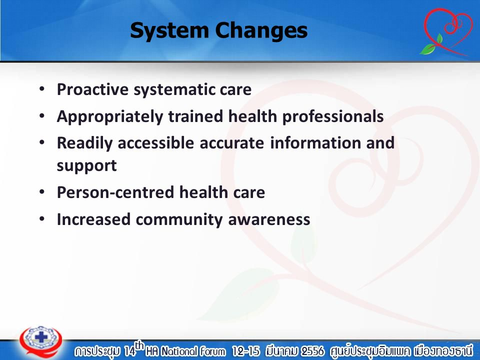 System Changes Proactive systematic care
