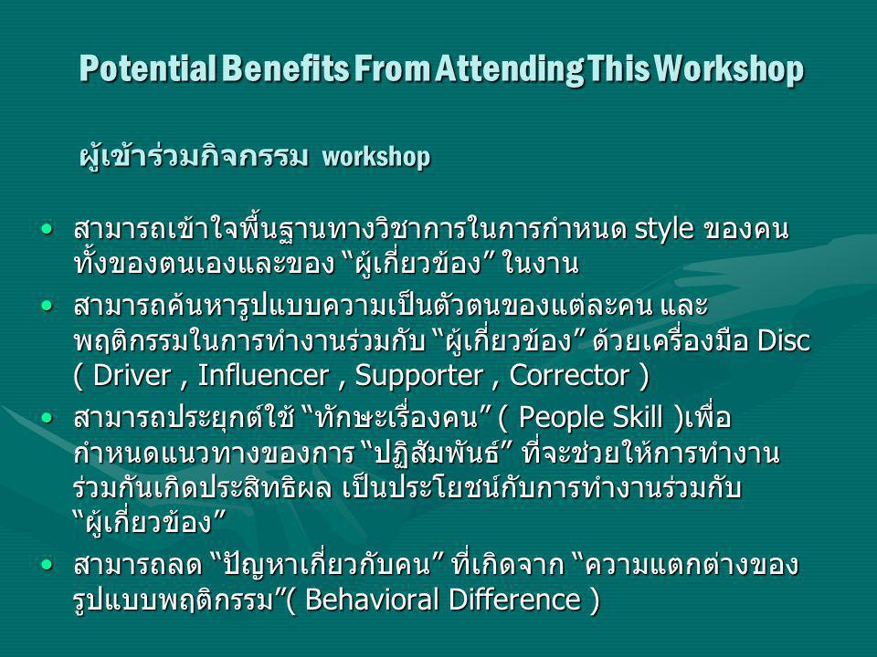Potential Benefits From Attending This Workshop ผู้เข้าร่วมกิจกรรม workshop