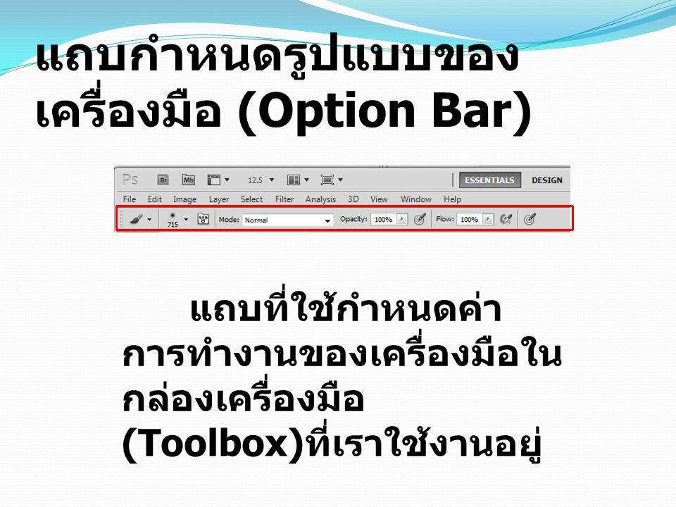 แถบกำหนดรูปแบบของเครื่องมือ (Option Bar)