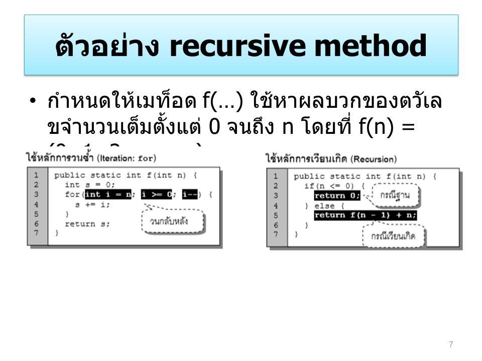 ตัวอย่าง recursive method